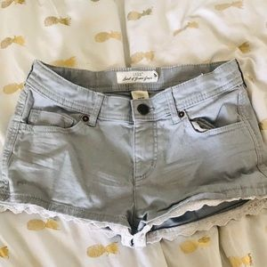 Other - Grey shorts with white lace trim